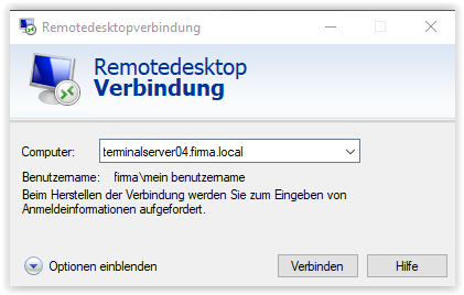 Die Remotedesktop-Verbindung